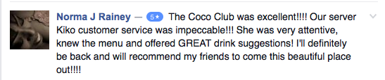 5-Star Review: The Coco Club was excellent!!!!