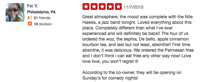 5-Star Yelp Review: Great Atmosphere